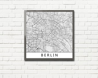 Minimalist Map Print of Berlin, Germany (fits square frame)