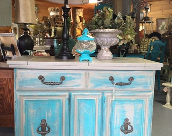 Buffet, server, teal, Chalkpainted painted furniture, shipping not free