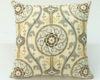 Modern amber & gray print designer decorative pillow toss pillow throw pillow cover