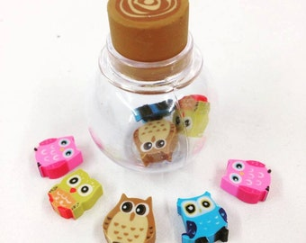 Owl Mini Eraser Pot, Collectable, Gift, Office, Rubber, Back to School, Woodland, Wildlife