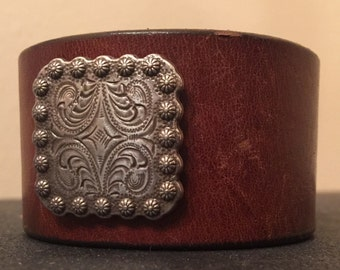 """Brown leather bracelet with attached concho size 6.5"""""""
