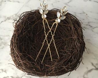 Rhinestone hair pins, crystal hair pin set, bridal hair accessory, bridesmaid hair accessory, wedding crystal pins