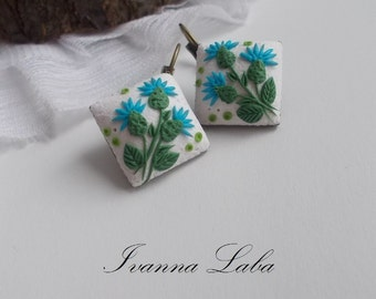 scottish thistle earrings, thistle earrings, scottish earrings, gift for her, bridesmaids earrings, rustic bridal jewellery, scottish folk