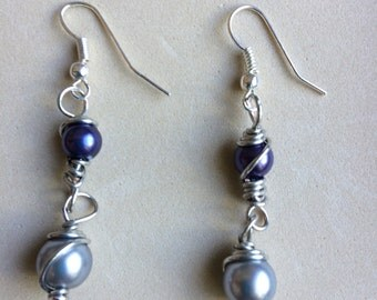 Siver & Purple Swirl Dangles