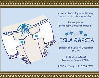 Baby Boy Shower Invitation, Printable Digital Invitation