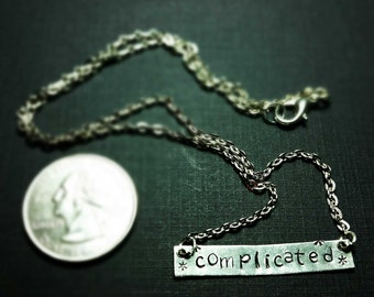 Complicated - Hand Stamped Silver Metal Bar Necklace