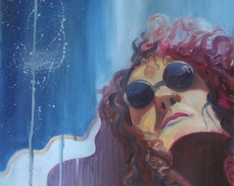 oil painting, curly hair girl , 40x40cm ,2012