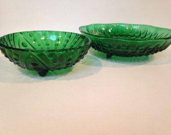 Vintage Anchor Hocking Green Glass Bowls - Free Shipping!