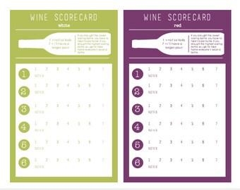 Wine Tasting Scorecard - Wine Tasting Card - Wine Tasting Party - Red and White