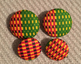 African fabric button earring