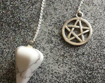 White Howlite pendulum PENTAGRAM CHARM