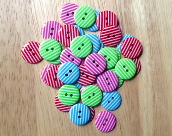 """18mm Striped Buttons - Round Buttons - Assorted Colours - Red - Lime Green - Baby Blue - Candy Pink - Pack of 10  - 11/16"""" Button"""