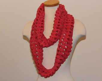 Crochet Salmon Scarf, Long Infinity Scarf, Fleece Infinity Scarf, Light Weight Salmon Scarf, Salmon Sunshine Scarf