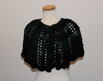 Crochet Green and Black Capelet, Lacy Green and Black Capelet, Capelet Green and Black, Well-Being Green Capelet
