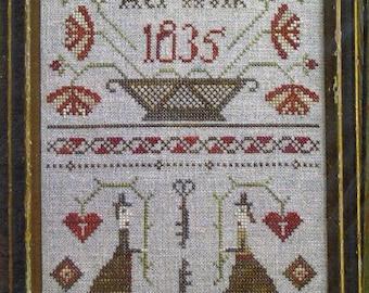 Key To My Heart Sampler by Pineberry Lane Counted Cross Stitch Pattern/Chart