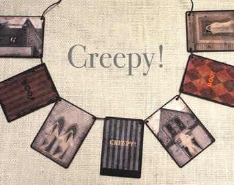 Creepy! Garland--Halloween garland, Halloween banner, Halloween hunting, wall decor, Halloween decor, Halloween gift, party decor, dorm room