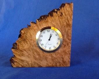 Maple burl with clock