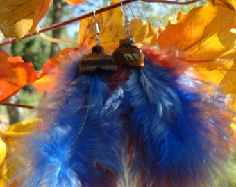 """Earrings """"collection feathers"""" Tiger eye"""