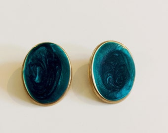 Gold and turqouise earrings, teal earrings, vintage earrings, gem style, gem earrings, 1980s, big earrings