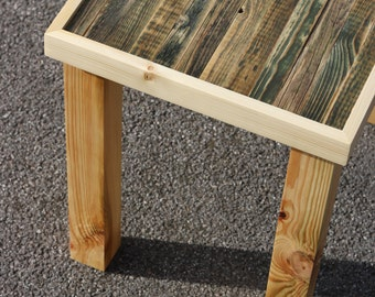 One of a kind reclaimed wood side table