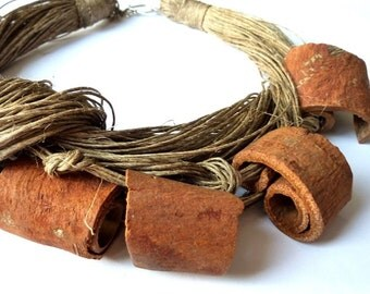 Cinnamon Linen Necklace Linen Necklace Organic Gift