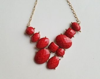 Retro 60's/70's Red Disco Bib Necklace! True Vintage Multi-Shaped Statement Necklace. Wonderful Condition and Still Shiny!
