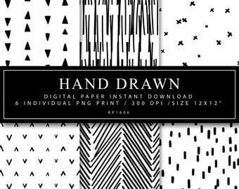 Hand drawn, Digital Paper, Line drawing, Black print, Scrapbooking, Sketch, Instant Download, Digital Print, Paper Print, Hand Drawn Print