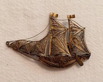 Antique 900 Silver Filigree Ship Brooch Pin