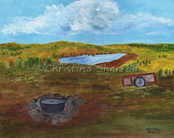 "Blank Greeting Card – ""Debie's View"" - Arizona Ranch - From Original Acrylic Painting - 5x7 - Horizontal"