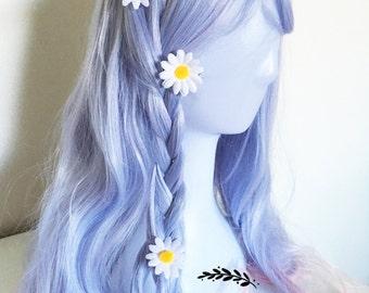 Daisy hair clips, flower hair accessories, hair pins, lolita fashion accessories, women girls accessories