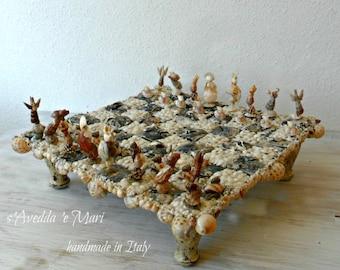 checkerboard of shells, made in Italy, Sardinia,