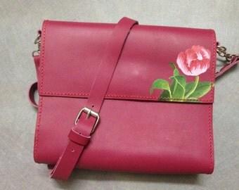 Crossbody bag, tulip handpainting