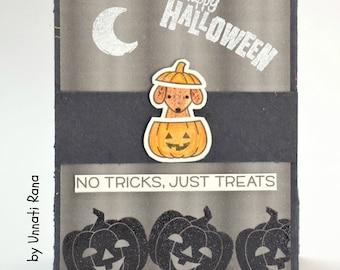 Halloween Card, Cute Halloween Card, Happy Halloween Card, Trick or Treat Card, Pumkin, Halloween, Handmade card, Flat Shipping Rate, Sale
