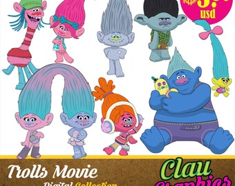Trolls Movie clipart, Digital Illustrations,Receive the editable files, Ai, EPS and SVG files, and PNG images Transparent Background 300 dpi