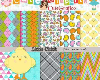 Little Chick Digital Paper Scrapbooking for baby shower invitations backgrounds patterns