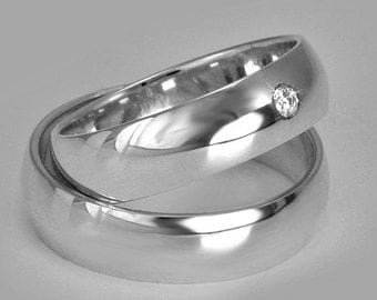 HANDMADE Pair ! 2 Wedding Rings, His and Hers Bands, Solid Yellow or White 14k Gold, 4 or 5 or 6 mm Wide