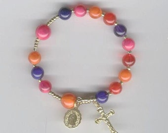 Dark blue, orange, fuschia and red  1-decade coil rosary bracelet