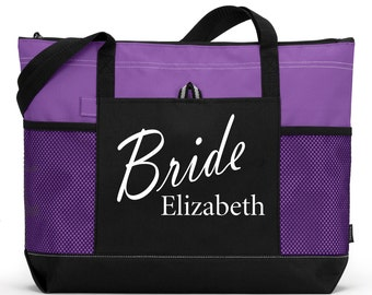 Heavy tote bag with Name, zippered main compartment, Heavy canvas, Wedding Bags, Bridal Shower Gift, Bachelorette Party, Carryall,