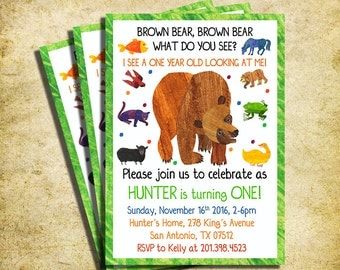 Brown Bear, Brown Bear Birthday Invitation - Brown Bear Birthday Party Invite  - Printable And Digital File