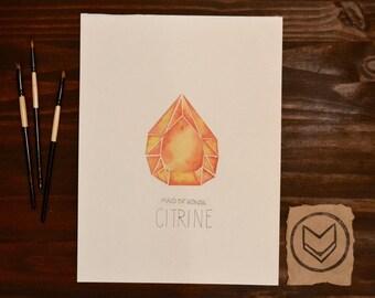 Custom November Watercolor Birthstone - Citrine