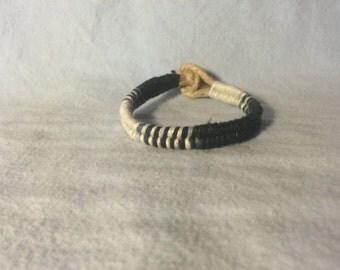 Black and white woven hemp bracelet