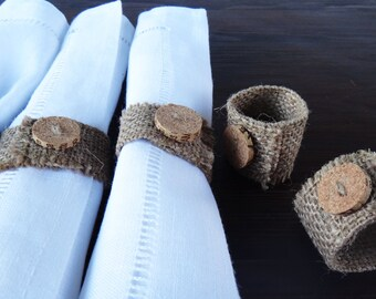 Napkin Rings Set, Burlap Rings, Table Decor
