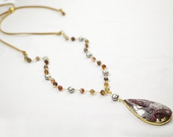 Long necklace genuine stone