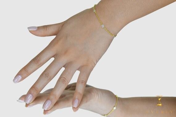 18k Solid Yellow White Rose Gold Yard Diamond Women's Bracelet