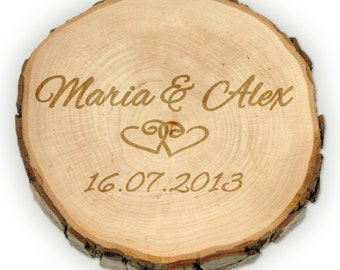 Wooden Tree Disc – Wedding Gift - Personalised with Names and Date