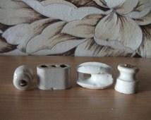 Set of 4 white Ceramic or Porcelain Electric Insulators USSR Soviet Union Small mini insulators vintage electric isolator