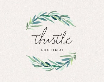 Wreath Logo | Thistle | Logo Design, Graphic Design, Custom Logo, Photography Logo, Logo for Small Business, Boutique Logo
