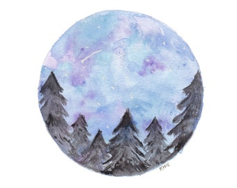 Night Sky Landscape -Print A4, Pine trees, Watercolour Art, Circle Night Sky Art