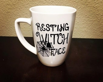 Resting Witch Face Mug - 12 oz Ceramic Halloween Mug