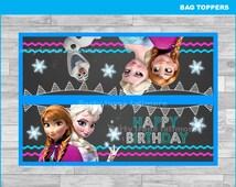Frozen bags toppers Instant download, Frozen Chalkboard toppers, Frozen treat bags toppers